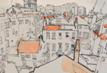 thumbnail lucinda rogers drawing ink watercolour london cityscape rooftops east end spitalfields church chimney crane