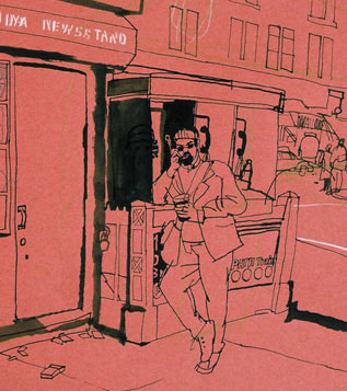 lucinda rogers drawing detail newsstand new york