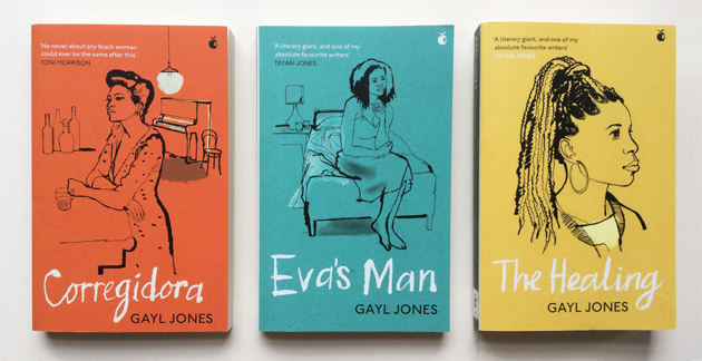 lucinda rogers - three Gayl Jones book covers, Gayl Jones, woman sitting at bar, woman sitting on end of bed, woman head and shoulders