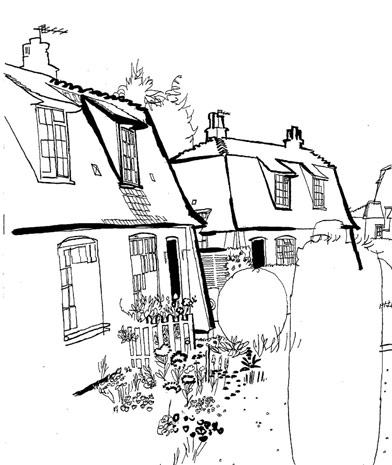 lucinda rogers dictionary of urbanism black and white ink drawing illustration letchworth countryside