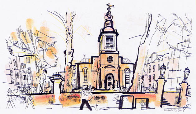 lucinda rogers black and white ink illustration guardian watercolour london church st anne's soho hazlitt street scene