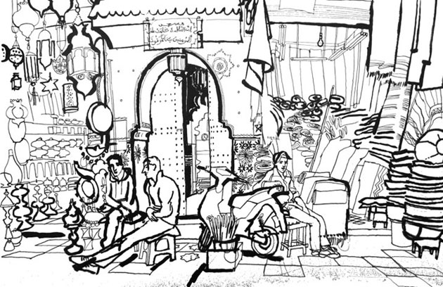 lucinda rogers marrakech black and white drawing pen ink souk market
