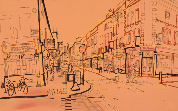 lucinda rogers drawing ink watercolour london life street scene city brick lane spitalfields bicycle