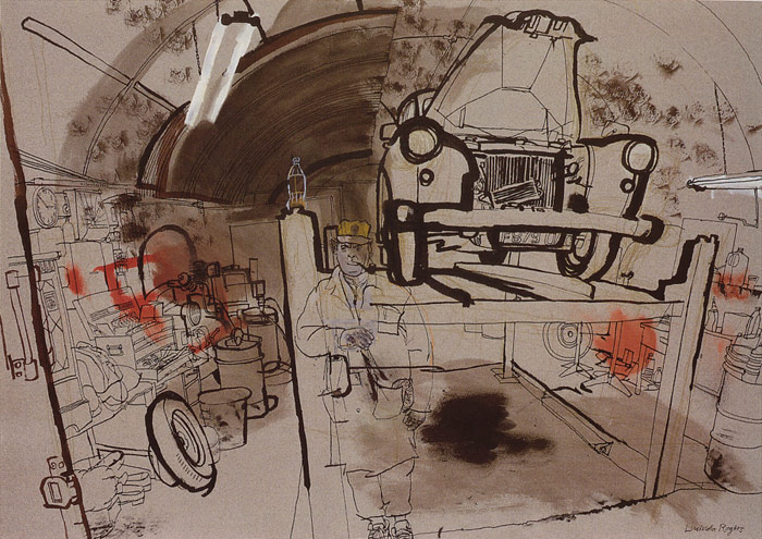 lucinda rogers drawing ink watercolour london city life black cab workshop garage car east end gunners supporter
