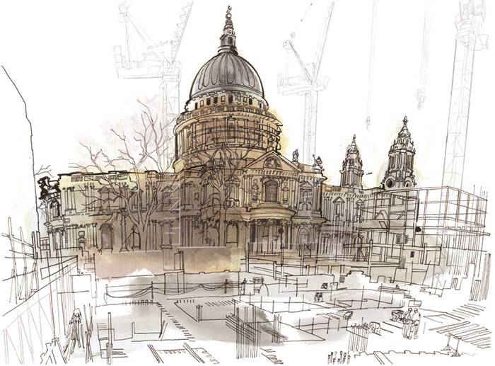lucinda rogers drawing ink watercolour prints for sale st pauls cathedral construction bovis london life cityscape street scene building cranes