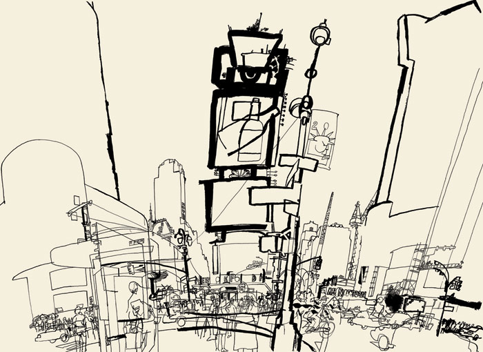 lucinda rogers ink line drawing Times Square new york cityscape street scene traffic
