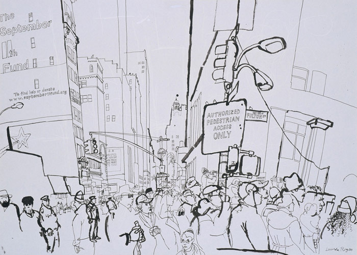 lucinda rogers drawing black and white ink new york city street scene cityscape christmas broadway fulton ground zero september 11