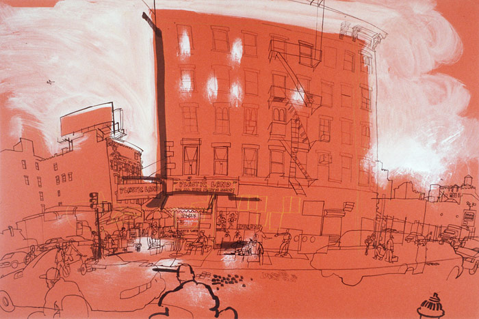 lucinda rogers drawing black and white ink red canal street new york city cityscape street scene chinatown