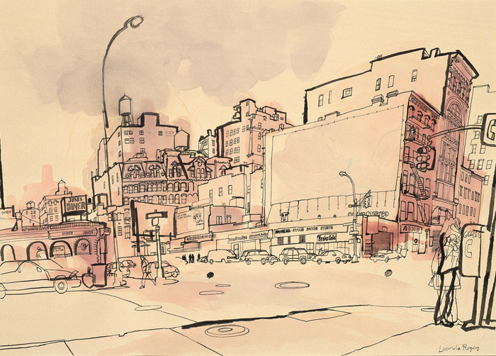 lucinda rogers drawing ink watercolour christmas eve 2001 new york city downtown cityscape street scene