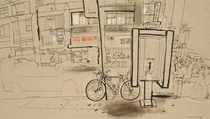 lucinda rogers drawing ink new york city street scene cityscape phone booth bicycle