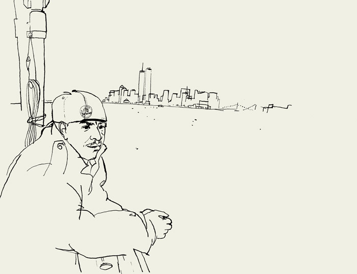 lucinda rogers ink drawing new york cityskyline portrait staten island ferry