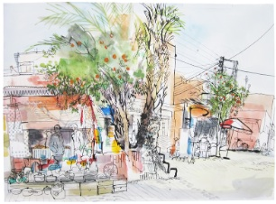 lucinda rogers drawing ink watercolour marrakech bab doukkala market